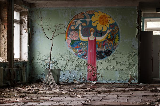 Nineteen years after the accident, schools and kindergarten rooms in Pripyat are decaying